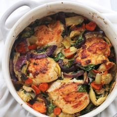 Chicken, spinach and artichokes come together in this delicious, one-pot dish.