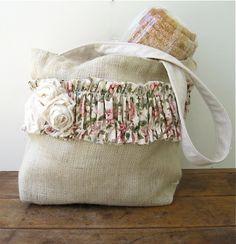 burlap market bag with large purse
