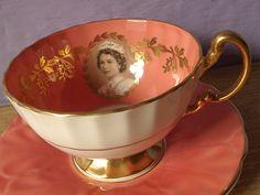 vintage English tea cup and saucer set, 1952 Aynsley Queen Elizabeth II coronation tea set, orange gold bone china on Wanelo