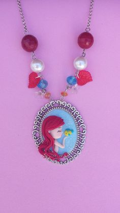 ariel cameo polymer clay necklace fimo by Artmary2 on Etsy, €16.00