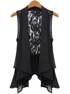 Black Sleeveless Lace Chiffon Vest - Sheinside.com