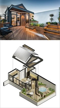 This modern wood rooftop deck features hidden lighting, built-in bench seating, and a spa that's surrounded by plants to provide some privacy.