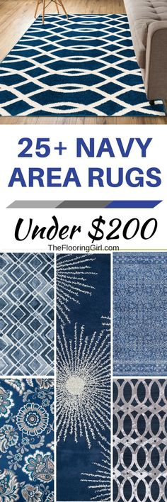 Affordable navy blue area rugs for under $200.  TheFlooringGirl.com