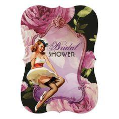 retro pin up girl rose Bridal Shower Tea Party Invite
