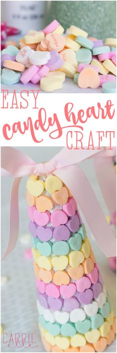 Easy DIY Candy Heart Craft - these are the cutest! Valentines Day Food, Valentines Day Activities, Valentines Day Decorations, Valentine Day Crafts, Be My Valentine, Funny Valentine, Ferrero Rocher, Easy Diy Candy, Easy Crafts For Kids