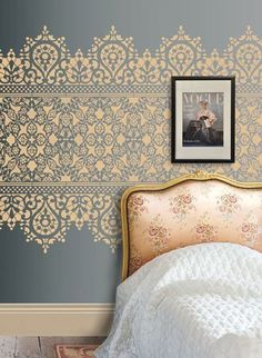 Bold pattern over a muted colour background is perfect for creating a statement in a room. Like this lace stencil design, add coordinating accessories to bring the effect to life. This is fantastic for bedrooms and living rooms. Lace Stencil, Damask Wall Stencils, Moroccan Wall Stencils, Stencil Diy, Stencils For Walls, Wall Stenciling, Paint Stencils, Large Wall Stencil, Wall Stencil Patterns