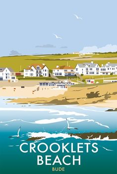 Crooklets Beach Print at Whistlefish Galleries - handpicked contemporary & traditional art that is high quality & affordable. Available online & in store Posters Uk, Railway Posters, Graphic Posters, Portsmouth, Poster Photography, British Seaside, Tourism Poster, Travel Illustration, Beach Print