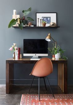home office - paint is Stone's Throw 28-18 by Pratt & Lambert.