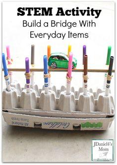 STEM Activity Build a Bridge with Everyday Items Bridge Stem Science, Preschool Science, Science For Kids, Science Classroom, Preschool Centers, Physical Science, Preschool Learning, Teaching Science, Science Education