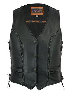 Motorcycle Vest, Biker Vest, Leather Vest, Cowhide Leather, Smart Women, Braids, Jackets, Shoes, Fashion