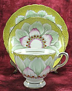 Tuscan Art Deco Teacup Trio Water Lily Tulip Enamel Paint Fancy