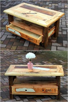 Re-transformed wood pallet patio table with drawer is presented to exhibit its sheer class. We are always in need of a coffee table and what makes it more desirable is this economical craft that provides you complete authority to practice your imagination. This classic table gives your environment a rustic and organic flavor.