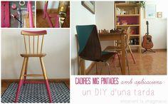 encenent la imaginació: Cadires mig pintades (amb aplicacions). Un DIY d'una tarda.