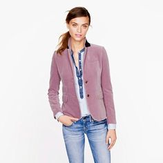 Jcrew velvet blazer in dusty lavender