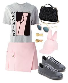 """tennis pink"" by thefashioninstruction on Polyvore featuring moda, McQ by Alexander McQueen, Versace, Francesco Ballestrazzi, Fendi, Givenchy, adidas y Vinca"