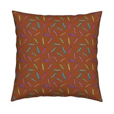 Catalan Throw Pillow featuring CLOTHESPINS SCATTERED BROWN by paysmage   Roostery Home Decor