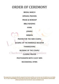 Wedding Ceremony Order Of Service Template Free Choice Image ...