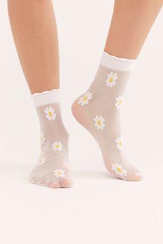Fiore Bouquet Short Socks Ankle High Pop Socks 30 Denier Floral Pattern