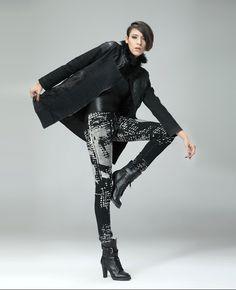 Leather-block Faux Fur Collar Black Denim Jacket | BlackFive