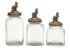 Glass Cat Canisters, Asst. of 3 on OneKingsLane.com
