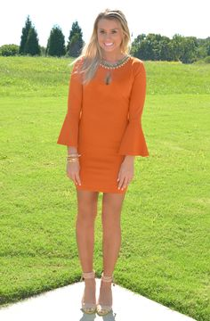 Southern Socialite Dress | Haute Pink Boutique - Caramel Dress With Gorgeous Embellished Neckline