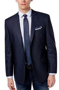 Pinned onto Men's Navy Blue Blazers Board in Men's Clothing Category Silk Wool, Wool Fabric, Navy Blue Blazer, Blue Blazers, Mens Sport Coat, Andrew Marc, New Man, Fabric Design, Suit Jacket