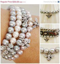 1 Grey Freshwater Pearl Bracelet .. sterling Bumble Bee .. $28.00