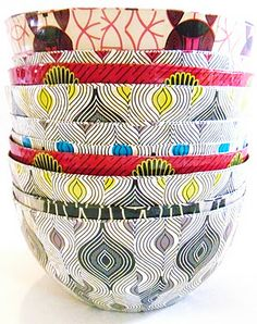 The beautiful and innovative range of bowls, which take 4 hours to make by hand, are created out of recycled magazines by a craft project in South Africa that supports HIV positive women and children.