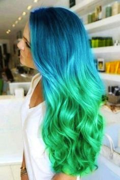 Black to teal green & blue ombre hair color, Wonderful mermaid hair style with natural waves,The favorite hair color of the moment would have to be green this Wonderfull of 28 Amazing . Ombre Hair, Pastel Hair, Ombre Wigs, Teal Hair, Peacock Hair, Aqua Hair Color, Blonde Hair, Ash Blonde, Platinum Blonde