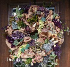 Burlap Wine Wreath with GRAPES HYDRANGEAS and CORKS by decoglitz