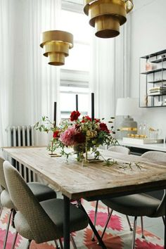 rustic table with brass lighting