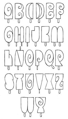 Cute icecream alphabet for summer Hand Lettering Alphabet, Doodle Lettering, Creative Lettering, Lettering Styles, Calligraphy Letters, Typography Letters, Alphabet Fonts, Lettering Ideas, Bullet Journal Font