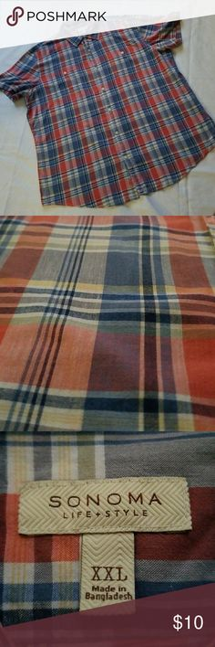 3 FOR $15: Sonoma Men's Casual Button Down EUC: Red, blue & white plaid casual men's button down.  PRICE FIRM IF PURCHASED ALONE  Add 2+ listings from my closet to a BUNDLE for a Private Offer. Sonoma Shirts Casual Button Down Shirts