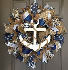 Anchor Nautical Burlap/Deco Mesh Wreath by BeautifulMesh on Etsy
