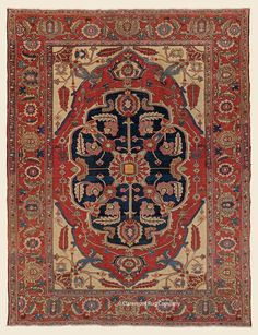 An antique 9 5 x 11 8 Circa 1875 N Persian Carpet, Persian Rug, Rug Company, Deep, Antique Art, Tribal Rug, Rugs On Carpet, Oriental Rugs, Antiques