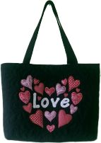 Gecko Fabric Art - applique quilted mini tote bag - love hearts design