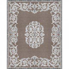Узелковый ковер ручной работы  Boudeuse Acier Fond Taupe. Коллекция французских ковров с доставкой в Украину. #ковры #ковер #дизайн #интерьер #дизайнинтерьера #designer #interior #designerinterior #rug #carpets