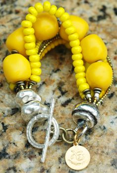 Yellow, Silver and Copper Multi-Strand Bracelet