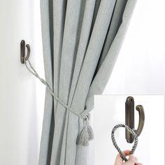 Curtain Holdbacks Ideas, Curtain Tie Backs Diy, Drapery Holdbacks, Curtain Ties, Sheer Curtains, Window Curtains, Shabby Chic Rose Curtains, Curtain Wardrobe, Tab Trailer