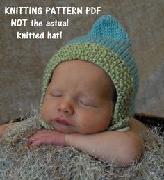 Gnome Chin Strap Baby Hat Knitting Pattern PDF Number by 4aSong