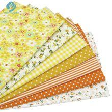 7 unids Amarillo 100% Algodón Bolsas de Tela para DIY de Coser Patchwork Niños ropa de Cama Edredones Tilda Muñeca de Trapo de Tela Textiles 50*50 cm(China (Mainland))