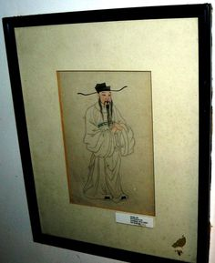 999939 $9999 or best offer - framed antique asia man with hat - free ship worldwide