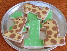 First Birthday Giraffe Cookies Giraffe Birthday Cakes, Giraffe Birthday Parties, Giraffe Party, Cool Birthday Cakes, 1st Boy Birthday, Animal Birthday, First Birthday Cookies, First Birthday Themes, First Birthdays