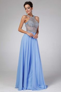 Prom Dress with Fully Beaded Bodice CD8743. Floor Length, A-Line Solid Color Prom Gown, Halter Neck and Sleeveless, Fully Beaded See-Through Top, Ruffle Skirt with Zipper Back Closure. https://www.smcfashion.com/wholesale-prom-dresses/prom-dress-cd8743