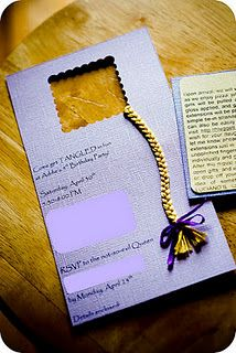 Rapunzel Party Invitation- turn the ribbon red!