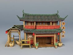Japanese Shop, Traditional Japanese House, Minecraft Japanese House, Building Concept, Model Building, Asian Cafe, China Temple, Japanese Buildings, Japanese Interior Design