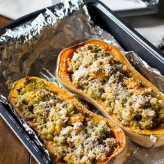 Roasted Butternut Squash with Turkey Stuffing.