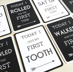 """Milestone cards from Leni + Co. Keep track of all your baby's """"firsts"""" with these mod milestone cards. View our full list of unique ways to capture your baby's monthly milestones at whatmomslove.com."""