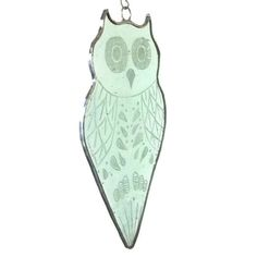 New engraved stained glass owl suncatcher.
