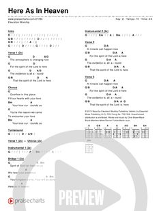 here as in heaven elevation worship chords pdf